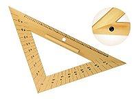 Rovnoramenný trojúhelník dřevěný 45* s úhloměrem s protiskluzem