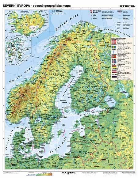 Severni Evropa Obecne Geograficka Hospodarska 160 X 120 Cm